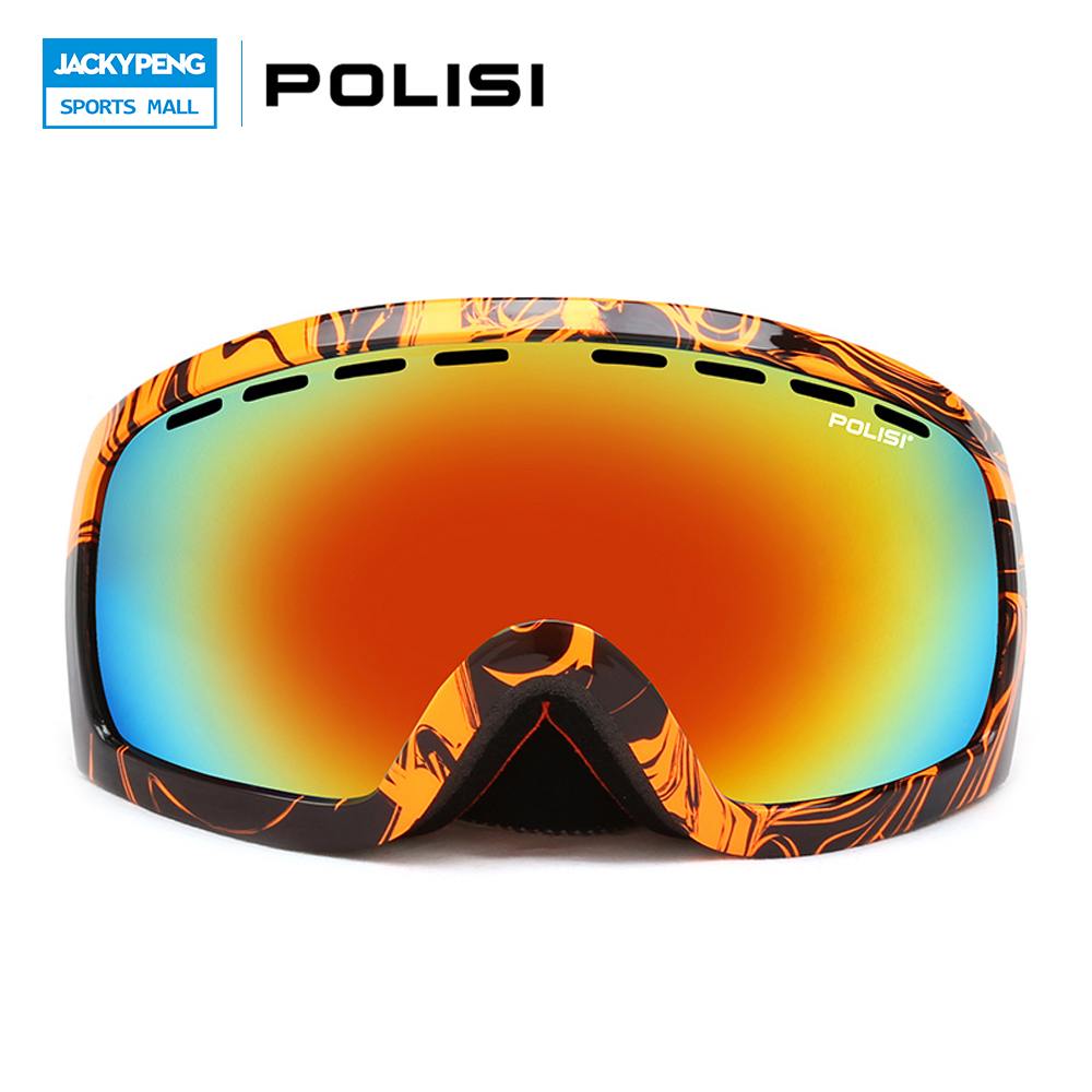 POLISI Professional Snowboard Goggles Double Layer Anti-Fog Lens Ski Snow Glasses Winter UV400 Mountaineering Protective Eyewear polisi brand new designed anti fog cycling glasses sports eyewear polarized glasses bicycle goggles bike sunglasses 5 lenses