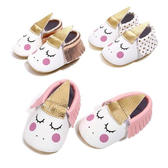 76c6a96770 2019 artesanal de couro PU partido do bebê menina sapatos da criança  mocassins Blush Angular Unicórnio