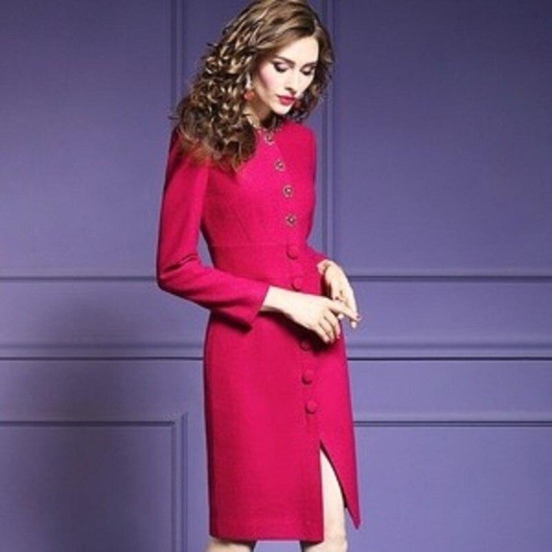 Lady D'hiver Parti Robes Rouge Femmes 2019 Street Nouvelle Crayon Perles Laine Qualité Noël De Vintage Printemps Supérieure High Robe ALj4Rq35