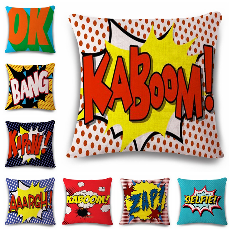 18'' Square Pop Bang Decorative Pillows Cushion Pop Animation Art Decorativos Cushion Home Decor Pillow Customized Drop Shipping