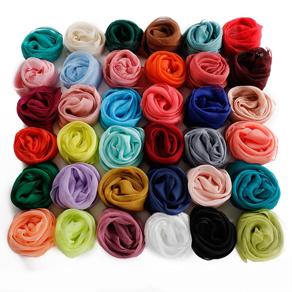 Solid Women Scarf Faux Silk Square Neck Scarves Men Bandana Hip Hop Handkerchief Rings Female Bufanda Mujer For Boys Girls Gift