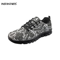 INSTANTARTS Spring Mesh Sneakers for Woman Cassette Tape Printed Women Sports Shoes Breathable Outdoor Running Walking Shoes