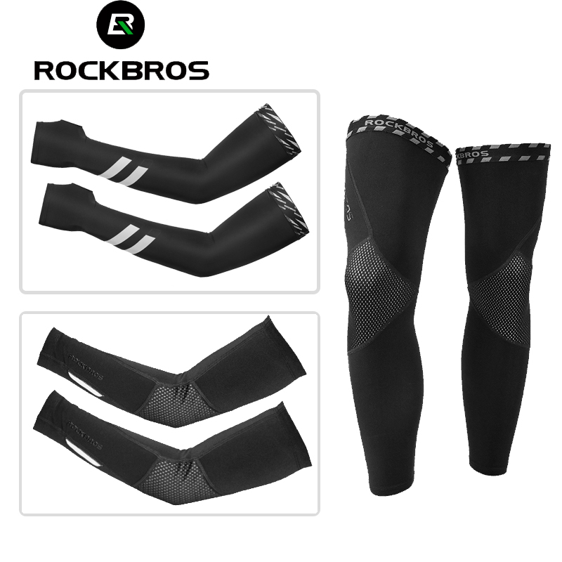 ROCKBROS Cycling Leg Protector Lycra/&Ice Silk Outdoor Sport Leg Warmers Black