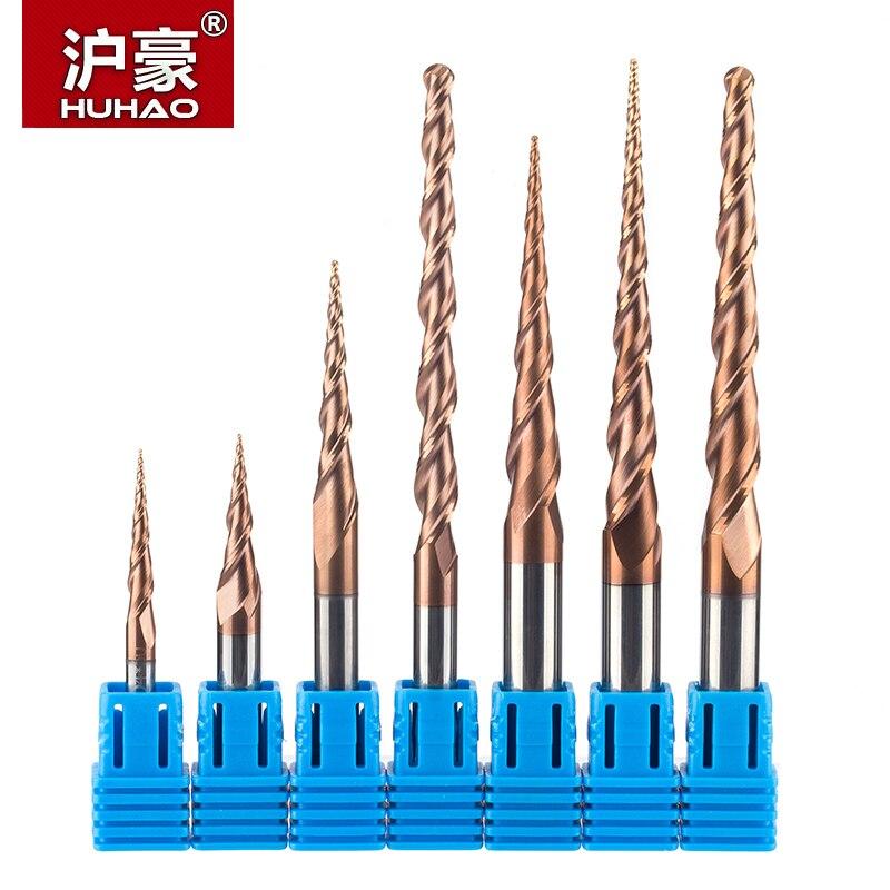 HUHAO 1 pc HRC55 Kegel Ball Nase Ende Mühle wolfram hartmetall Beschichtet Konischen kegel cnc fräsen cutter D4-D10mm gravur bit