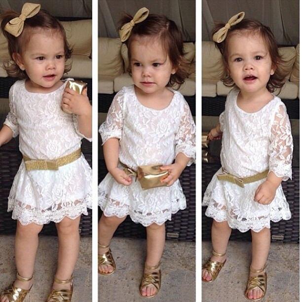 f07ceacc6c7c Elegant Kids Baby Girls Princess Party 3 4 Sleeve White Lace Dress ...