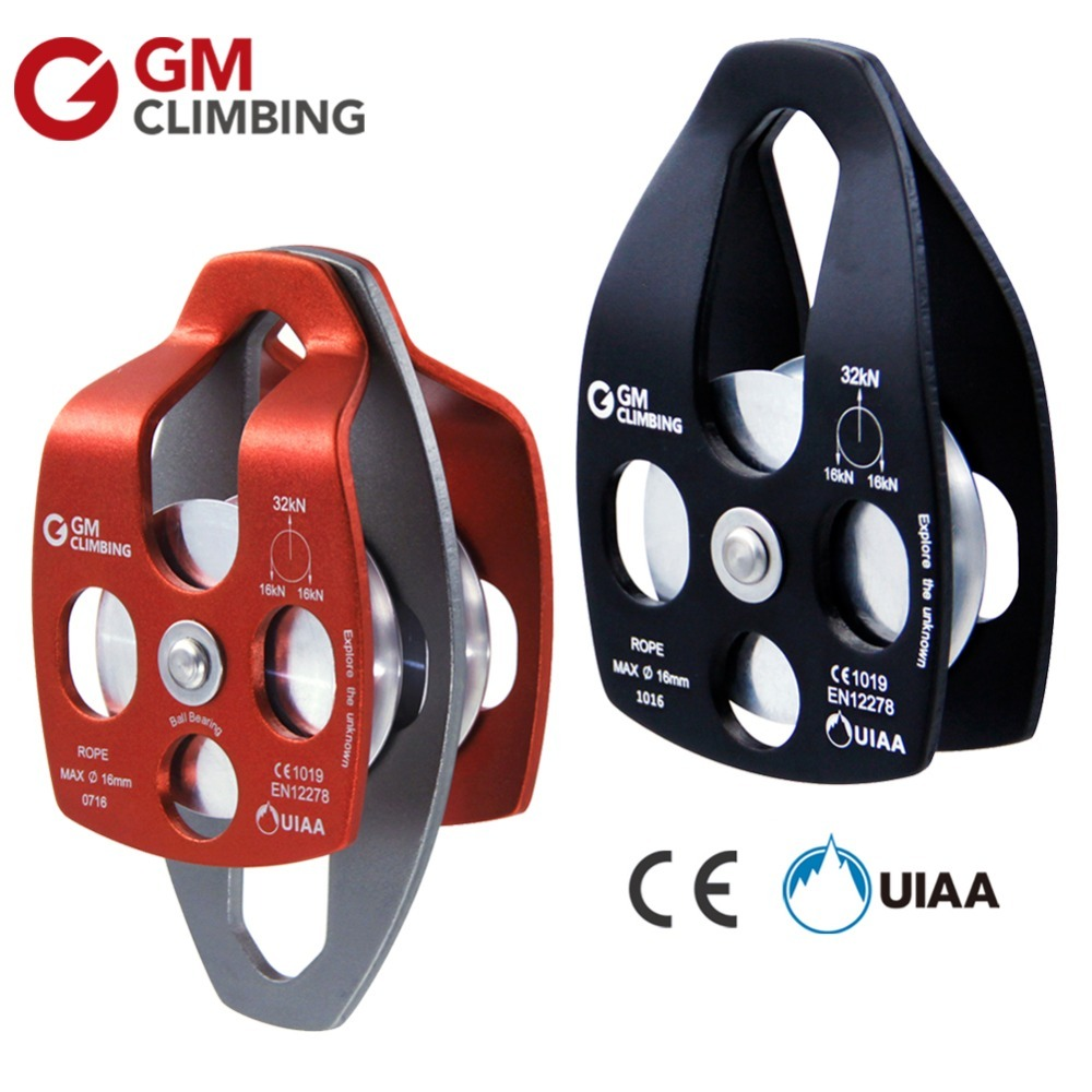 Climbing Rope Pulley CE / UIAA 32kN Ball Bearing Aluminum Rock Climbing Rappelling Arborist Rescue Survival Equipment multifunctional professional handle pulley roller gear outdoor rock climbing tyrolean traverse crossing weight carriage fit