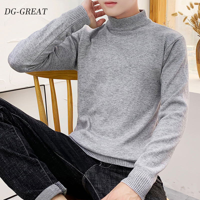 2019 Men's Sweater New Style Fashion Solid Color Semi-turtleneck Sweater Korean Version Slim Fit Body Stand Neck Sweater Man