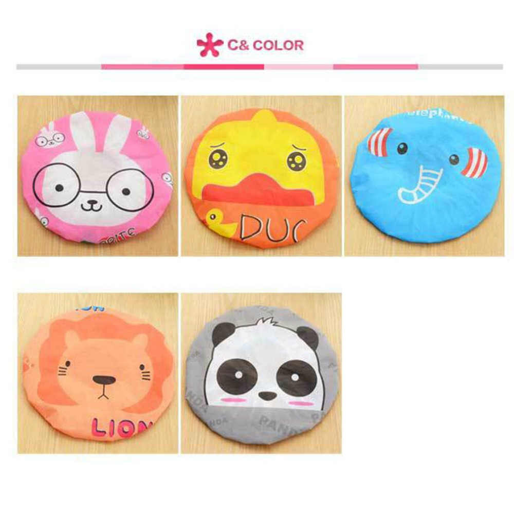 2018  Women Shower Caps Cartoon Animal Printed Shower Bath Cap Waterproof PVC Elastic Design Adults Bathing Cap Lady Hair Cover