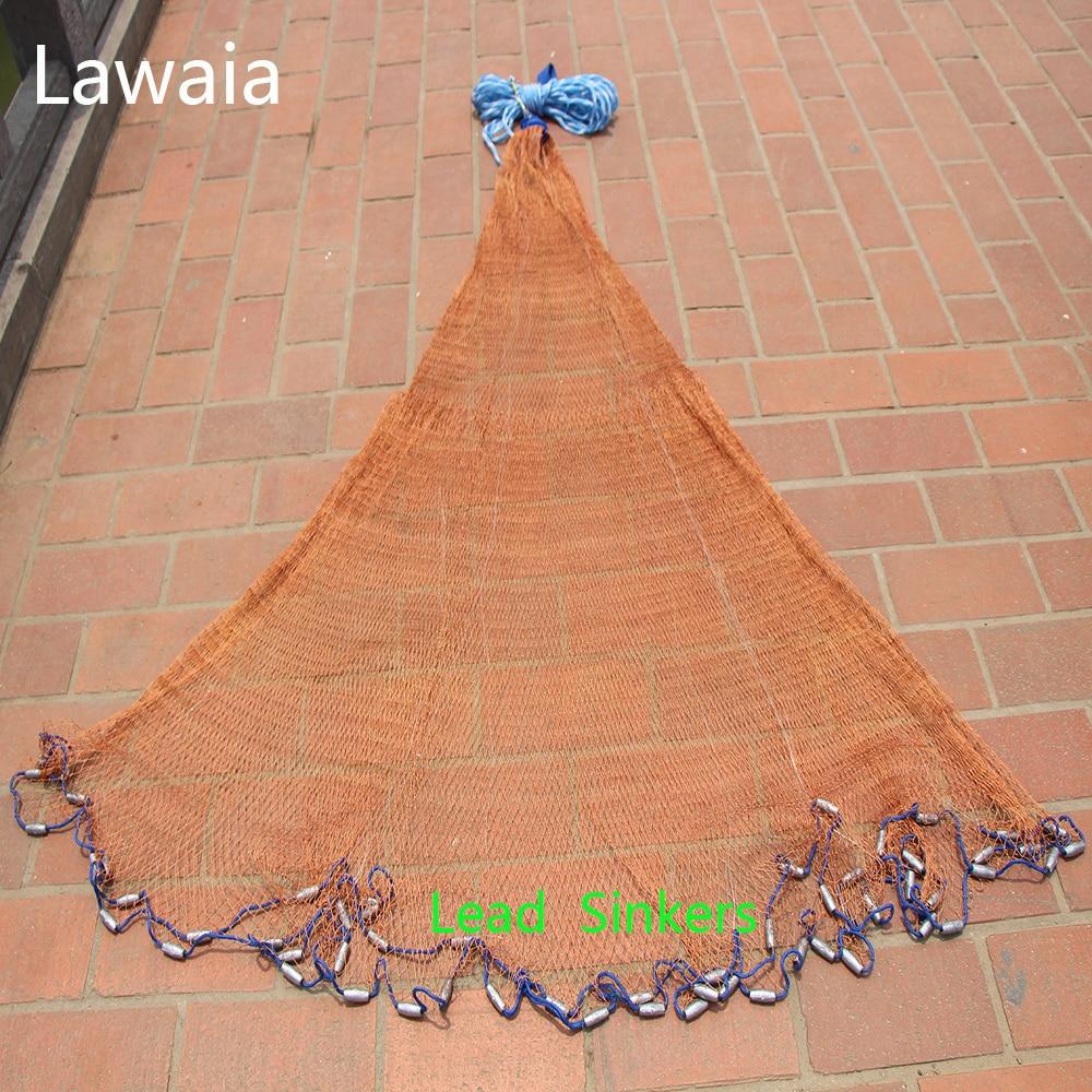 Lawaia Net Heavy Duty Fishing Net For Men Lead Sinker Red Line Outdoor Travel Fishing Net Fish Hand Throw Netwoek Dia 2.4-7.2m цена