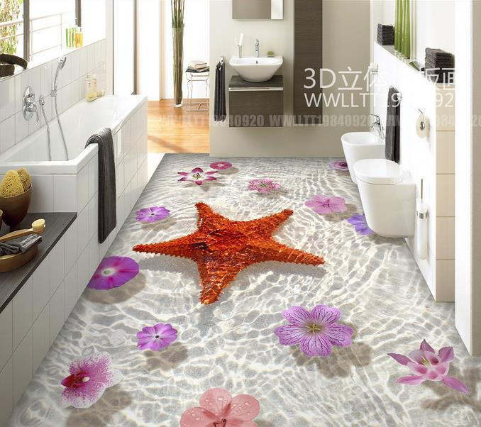 Photo Wallpaper 3d Flooring Starfish Flowers Self Adhesive Wallpaper For Kids  Room Vinyl Flooring Home Decor  In Wallpapers From Home Improvement On ...