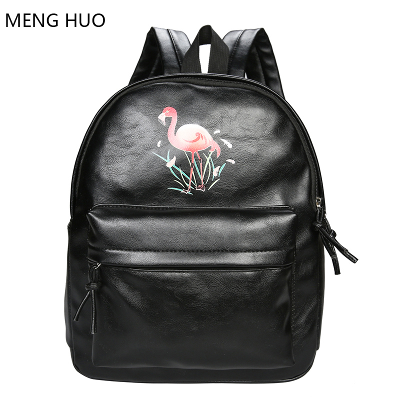 c15b9722e212 flamingo backpack female bookbags for school shoulder bag ladies leather  backpacks for teenage girls travel bagpack women bag-in Backpacks from  Luggage ...