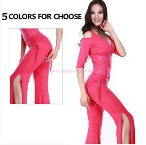 Image 3 - מכירה לוהטת! חלב משי ורשת בטן ריקוד חליפה למעלה, לחכות ירך צעיף ומכנסיים 3pcs בטן ריקוד סט 5 צבעים M L XL