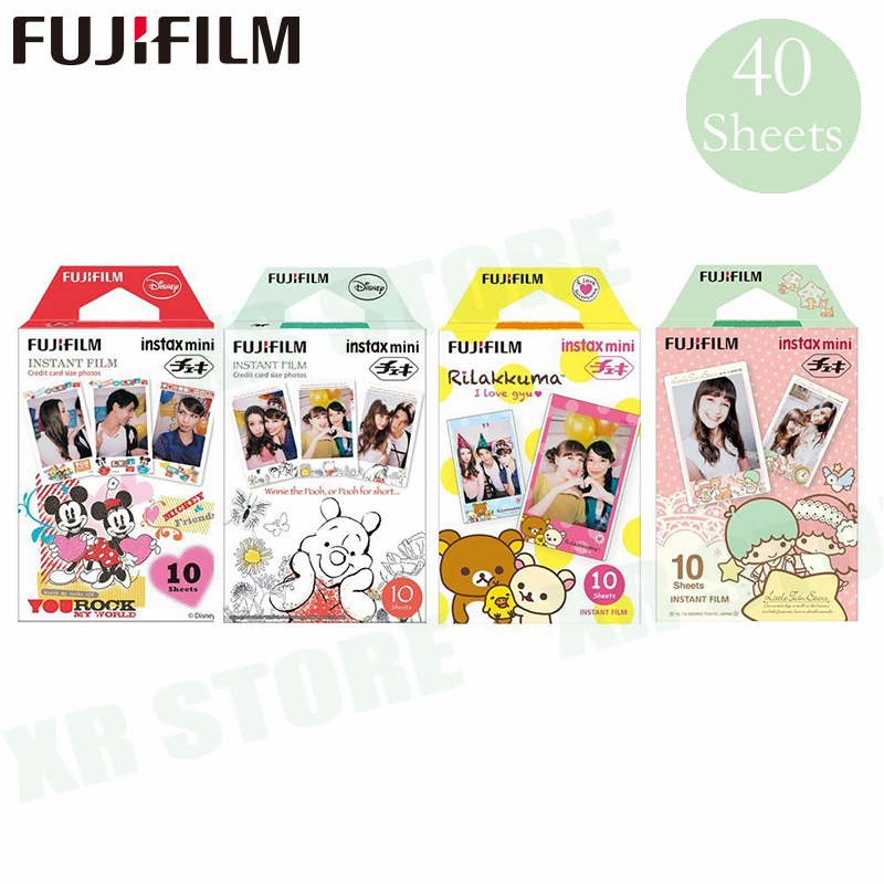 40 Fujifilm Mickey + winnie + Rilakkuma + papier Photo instantané Fuji double étoile pour Instax Mini 8 9 Film 70 7 s 50 s 50i 90 25 partager SP-1