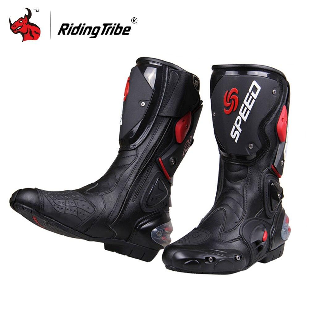Equitazione Tribe Stivali Da Moto Uomini Motocross Off-Road Moto Scarpe di Cuoio DELL'UNITÀ di elaborazione Stivali Moto Da Corsa di VELOCITÀ Dirt Bike Stivali nero
