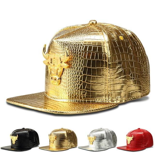 Janvancy PU Leather Baseball Caps Men Women Hip Hop Punk Flat Bone Snapback Man's Hat Crocodile Party Shows Black Gold Bull man