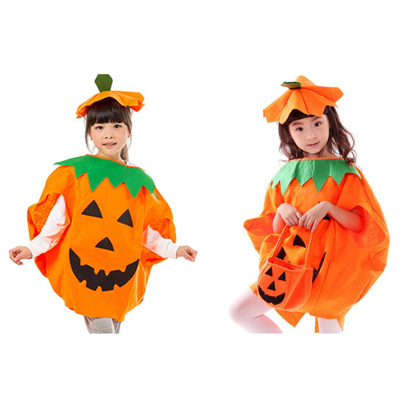 Kid Halloween Pumpkin Costumes with Hat Pumpkin Costume 2-Pieces Set Children Carnival Party Outfit Clothes for Boys Girls