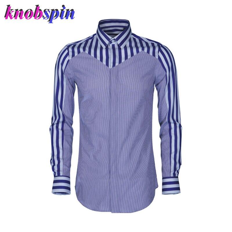 Contraste multi-rayé hommes chemise 2019 mode Slim chemises décontractées hommes haute qualité coton soie Camisa masculina grande taille 4XL 48