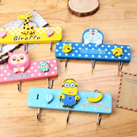 Creative Cute Cartoon Wall Sticky Hook Wood Wall Hanger Storage Clothes Key Holder Organizer For Home