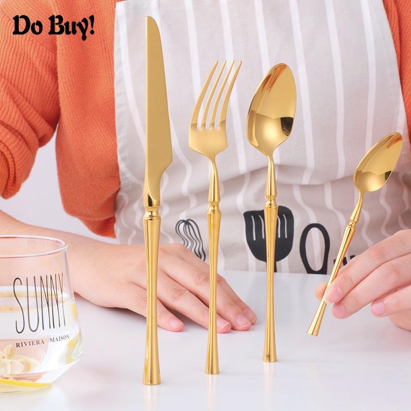 New Gold Cutlery Set Luxury Dinnerware Kit 304 Stainless Steel Dinner Spoon Knife & Fork Mirror Polishing Flatware Sets