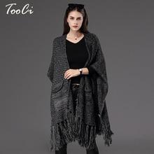 Autumn Winter New Fashion Fringe Women's  Cape Poncho Knit Loose Top Cardigan Sweater Coat Hip Scarf Shawl