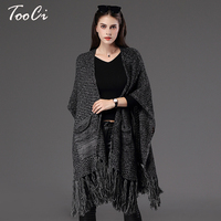 Autumn Winter New Fashion Fringe Women S Cape Poncho Knit Loose Top Cardigan Sweater Coat Hip