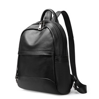 New women's first layer cowhide vertical square solid color backpack Europe and America simple large capacity leather travel bag