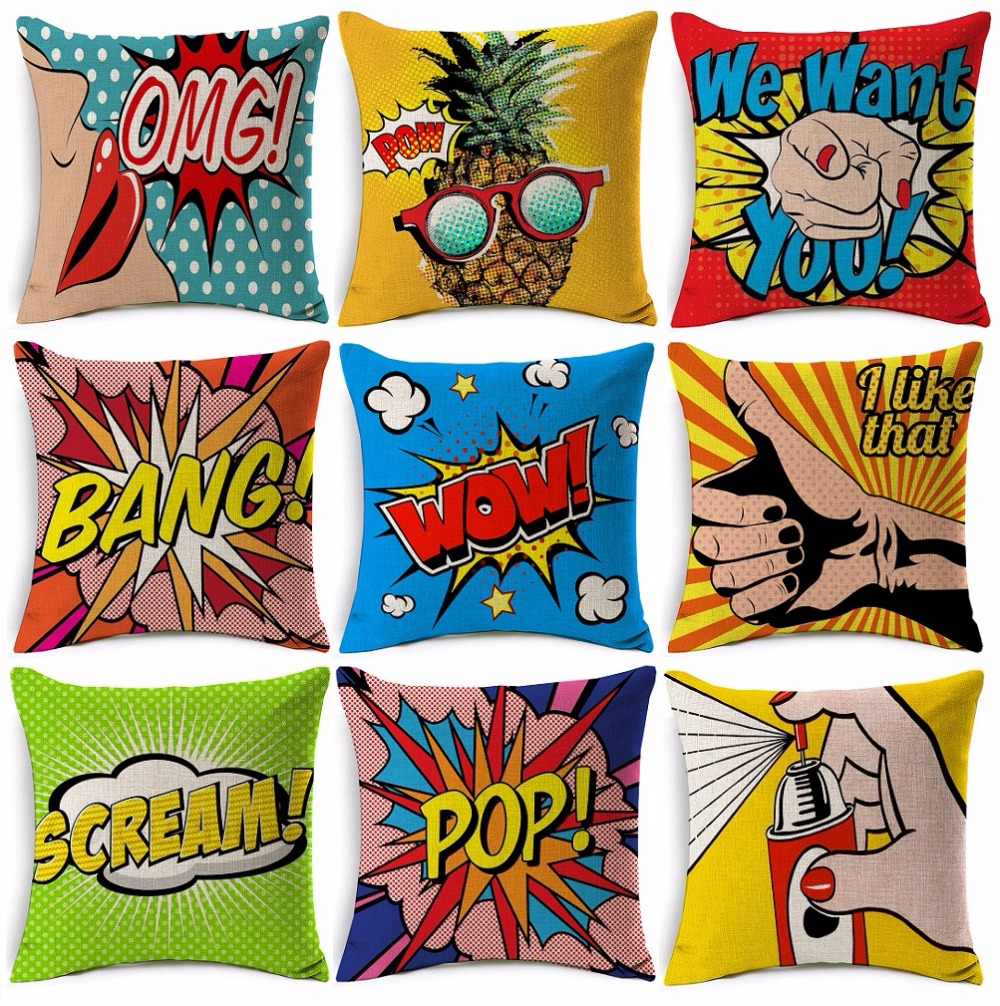 American Pop Art Cushion Cover Pow Bang Wow Love Pineapple Modern Cushion Covers Beige Linen Pillow Case For Sofa Couch Seat In Cushion Cover From
