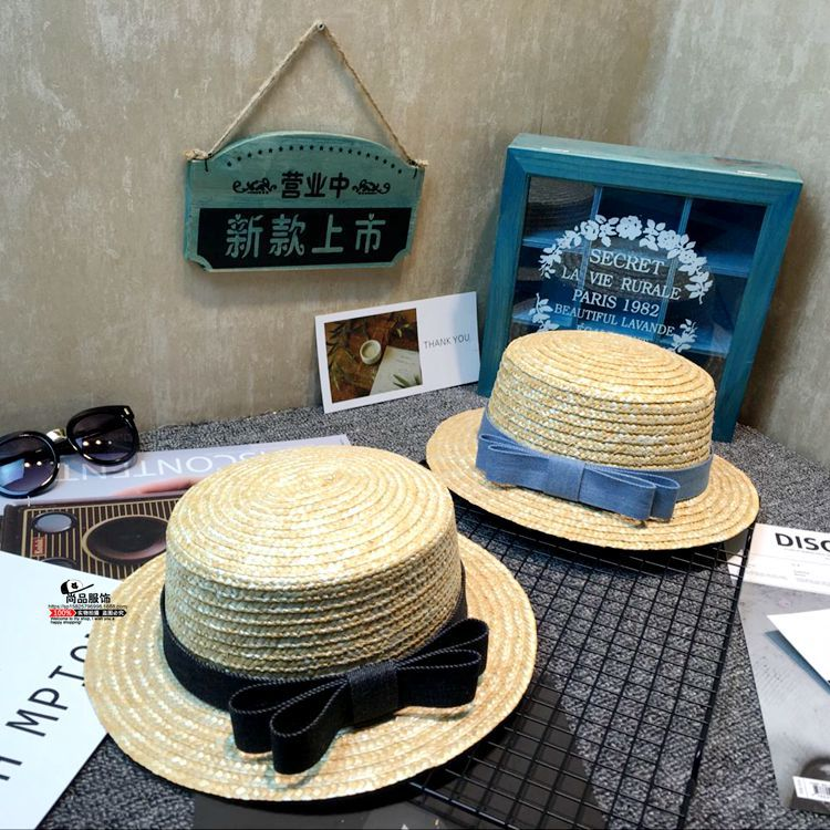 10pcs free shipping/2017-K274 summer  cowboy bowknot solid straw woven girl kids fedoras hat children Outdoor leisure cap