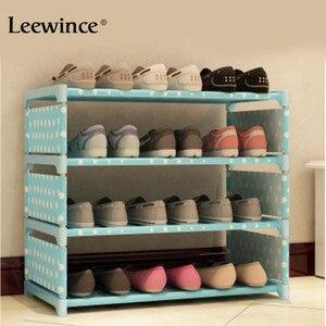 Image 3 - Leewince Einfache Schuh Schränke Ironwork Multi schicht Montage von Schuh Rack mit Moderne Einfache Staubdicht Schuh Schrank 50cm hight