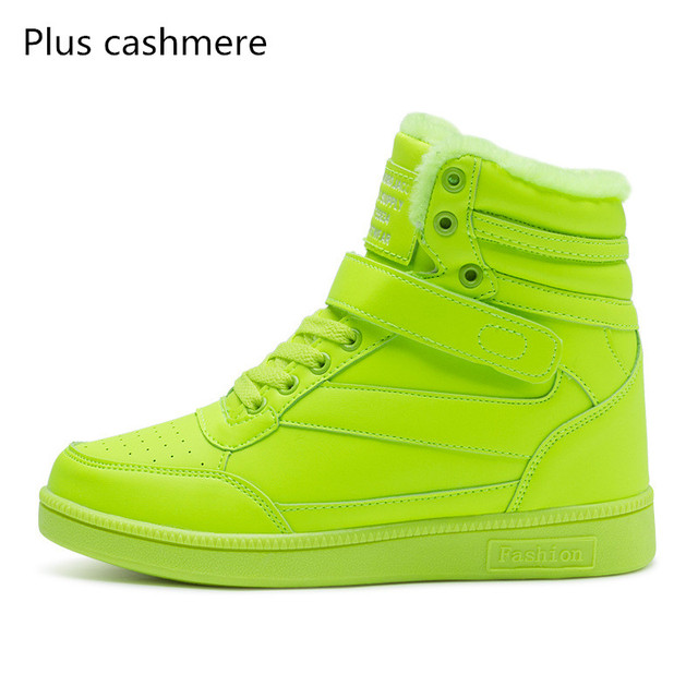 2017 Cheap spring autumn ankle boots heels shoes women casual shoes height increased high top shoes mixed color spring boots