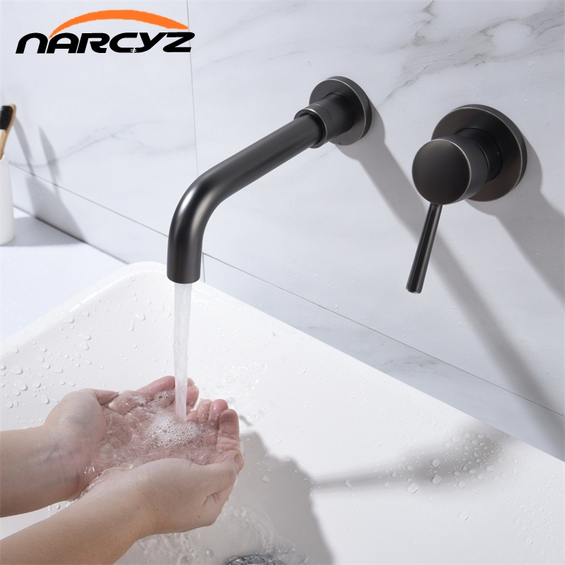 20cm Wall Mounted Brass Basin Faucet Single Handle Mixer Tap Hot and Cold Bathroom Water Matt