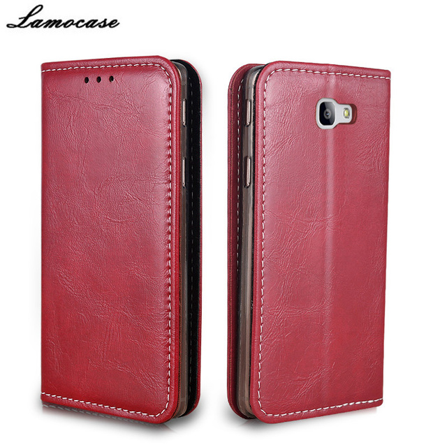 Lamocase Case For Samsung Galaxy On7 2016 SM-G6100 Leather Flip Cover For Samsung On7 2016/J7 PrimeSM-G610F Protective Phone Bag