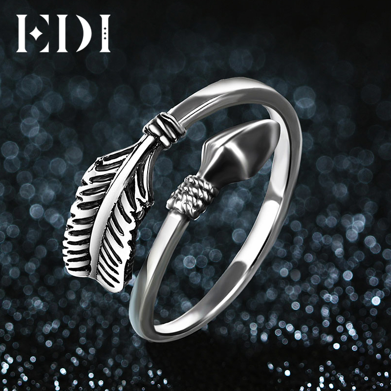 Edi trendy 100 925 sterling silver feathers arrow opening for Jewelry storm arrow ring