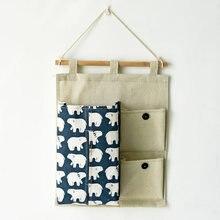Japanese Fabric Multifunctional Hanging Storage Organizers Hanging Bag Paper Towel Box Storage Bags