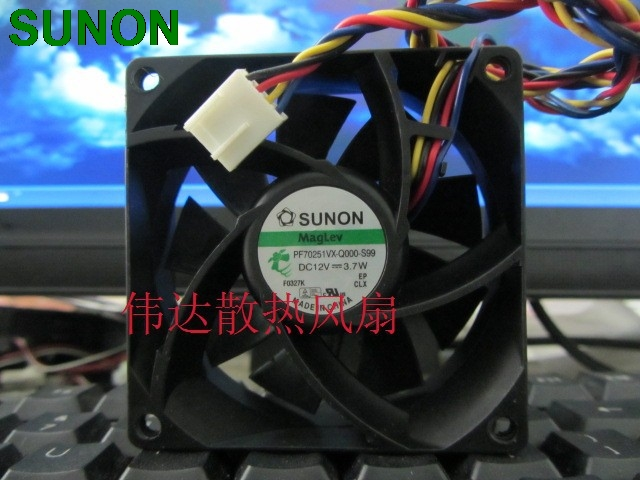 Original SUNON PF70251VX-Q000-S99 12V 3.7W 7025 70mm 7cm 4-wire case fan original sunon pmd1207ptv1 a 7025 magnetic levitation maintenance bearing large air volume 7cm fan 70x70x25mm