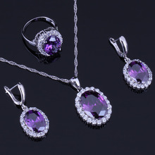 Awesome Oval Egg Purple Cubic Zirconia White CZ 925 Sterling Silver Jewelry Sets For Women Earrings Pendant Chain Ring V0282