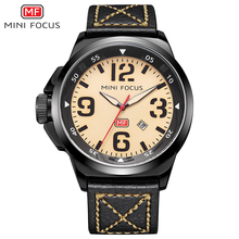 цены MINI FOCUS Top Brand Luxury Chronograph Men Sports Watches Leather Quartz Watch Men Military Wrist Watch Male Clock Reloj hombre