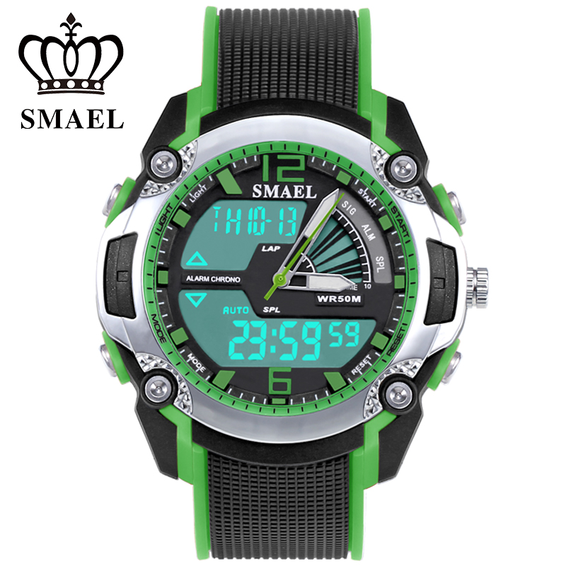 SMAEL 50ATM Waterproof Childrend LED Dual Display Multi function The Best Gift for Little Student