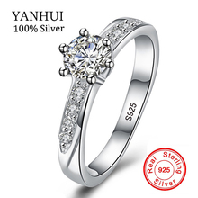YANHUI Real Natural Solid 925 Silver Engagement Rings 6mm Cubic Zirconia Wedding Jewelry Accessories Gift Rings for Women ZR048
