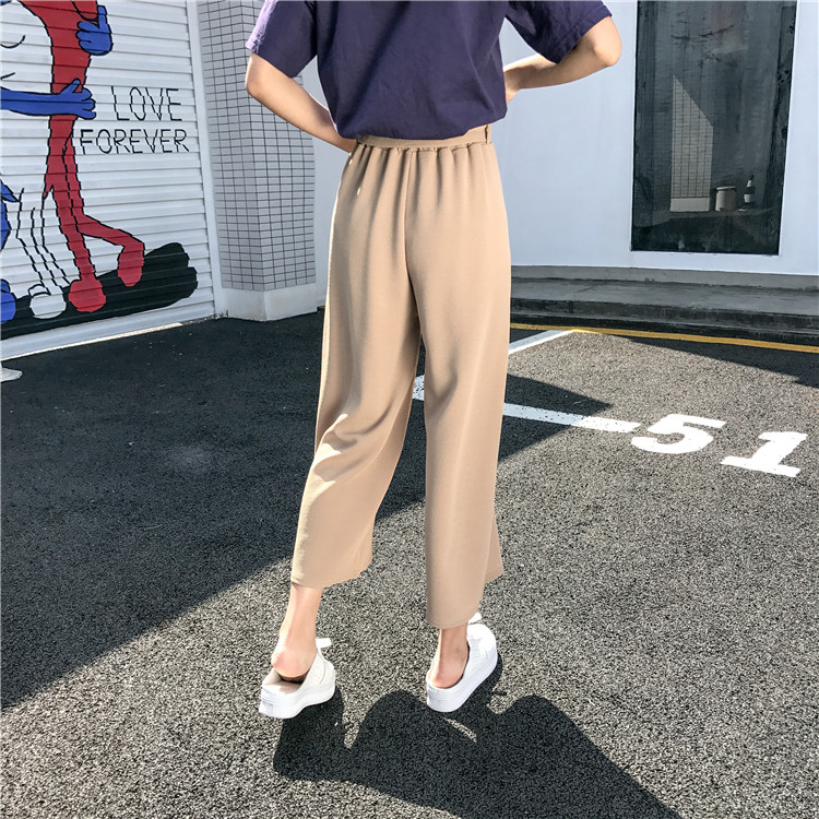 19 Women Casual Loose Wide Leg Pant Womens Elegant Fashion Preppy Style Trousers Female Pure Color Females New Palazzo Pants 13