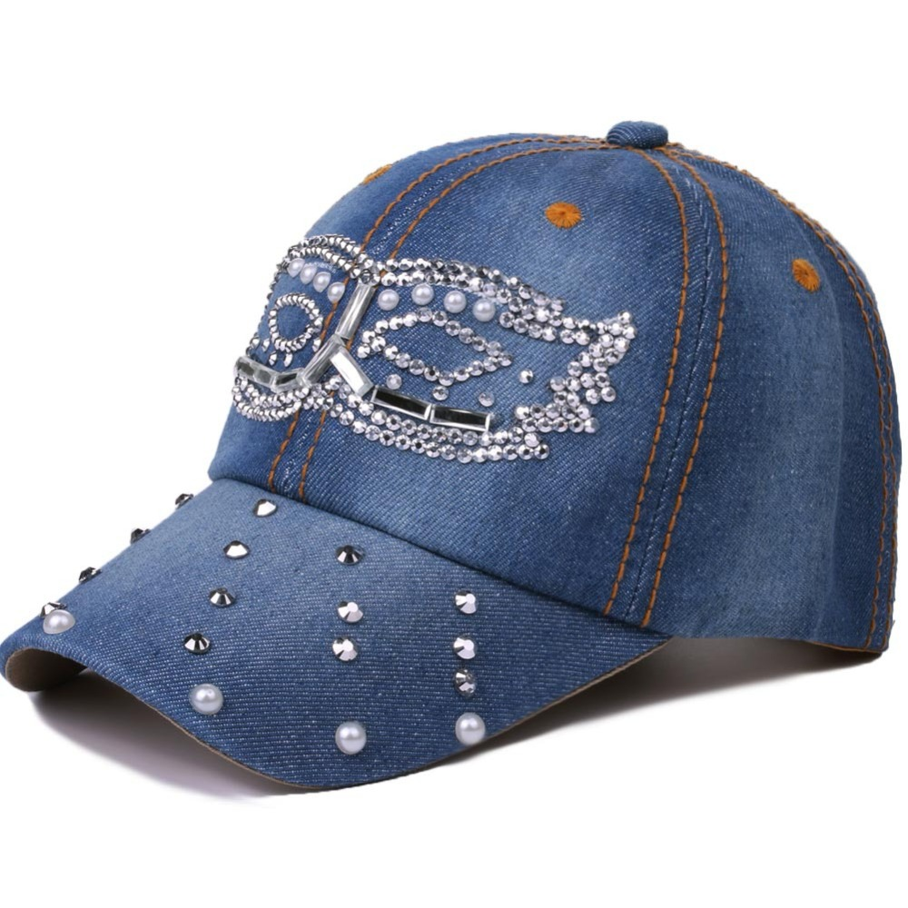 2018 New Spring Summer Denim Baseball Cap Women Worn Snapback Hat Caps For Girls Casquette Gorras Rivet Pearl Bone Hip Hop Cap women baseball cap men snapback casquette hats for women men sun hat bone summer gorras hip hop snapback bone fashion new caps