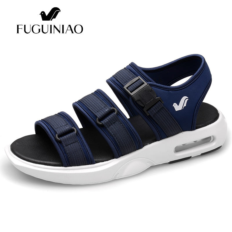 airbag s cushioning Free shipping FUGUINIAO brand Summer Men s Leisure sandals Beach shoes color black
