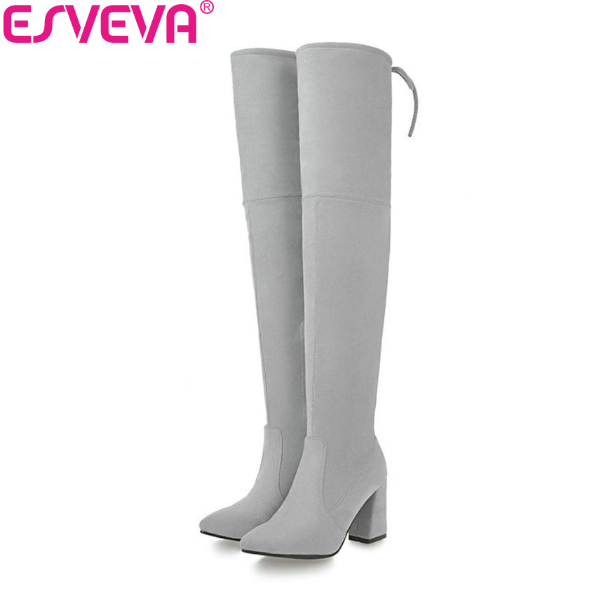 ESVEVA 2018 Women Boots Lining Warm Fur Square High Heel Over The Knee Boots Slim Look Pointed Toe Ladies Long Boots Size 34-43 esveva 2018 women boots elegant square high heels pointed toe ankle boots appointment lining warm fur pu ladies shoes size 34 39