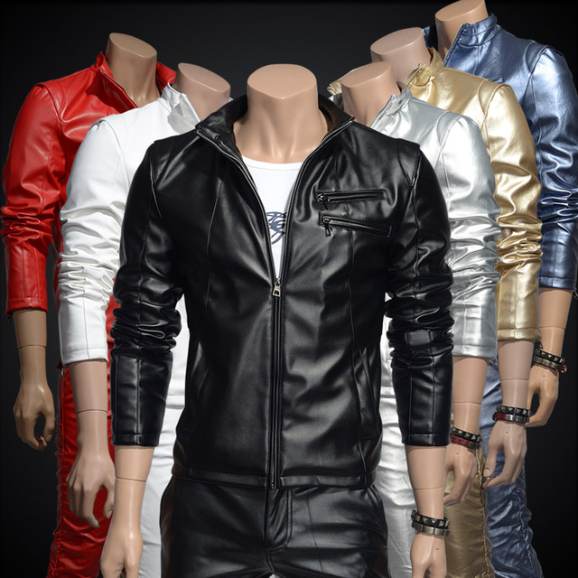 New fashion high quality Male leather clothing outerwear slim PU motorcycle jacket design gold men's autumn winter coat clothing