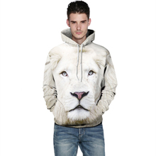3D Printed White Lion Fashion Sweatshirts Long sleeve with hat Cosplay Lion Costume Men Women Hoodies Animal Cosplay Sweatshirts
