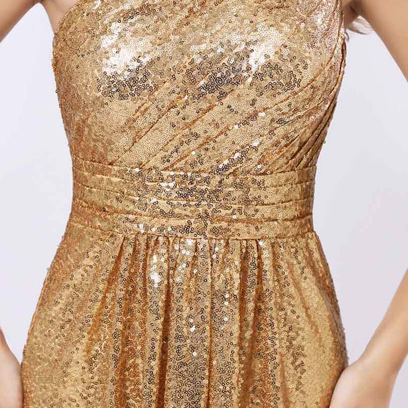One Shoulder Gold Sequin Bridesmaid Dresses Cheap A Line Maid of Honor Dress Women Plus Size Long Pageant Party Gowns OS421 6