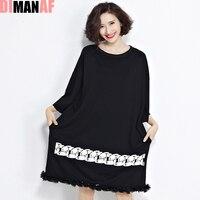 Más tamaño mujeres corea del vestido impresión floral sólido moda femenina de gran tamaño patchwork verano estilo o-cuello casual nuevo negro Vestidos