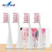 4 unidades/pacote seago substituição cabeças da escova se encaixa para sg986/sg987 melhor escova de dentes elétrica substituível cabeça cerdas macias