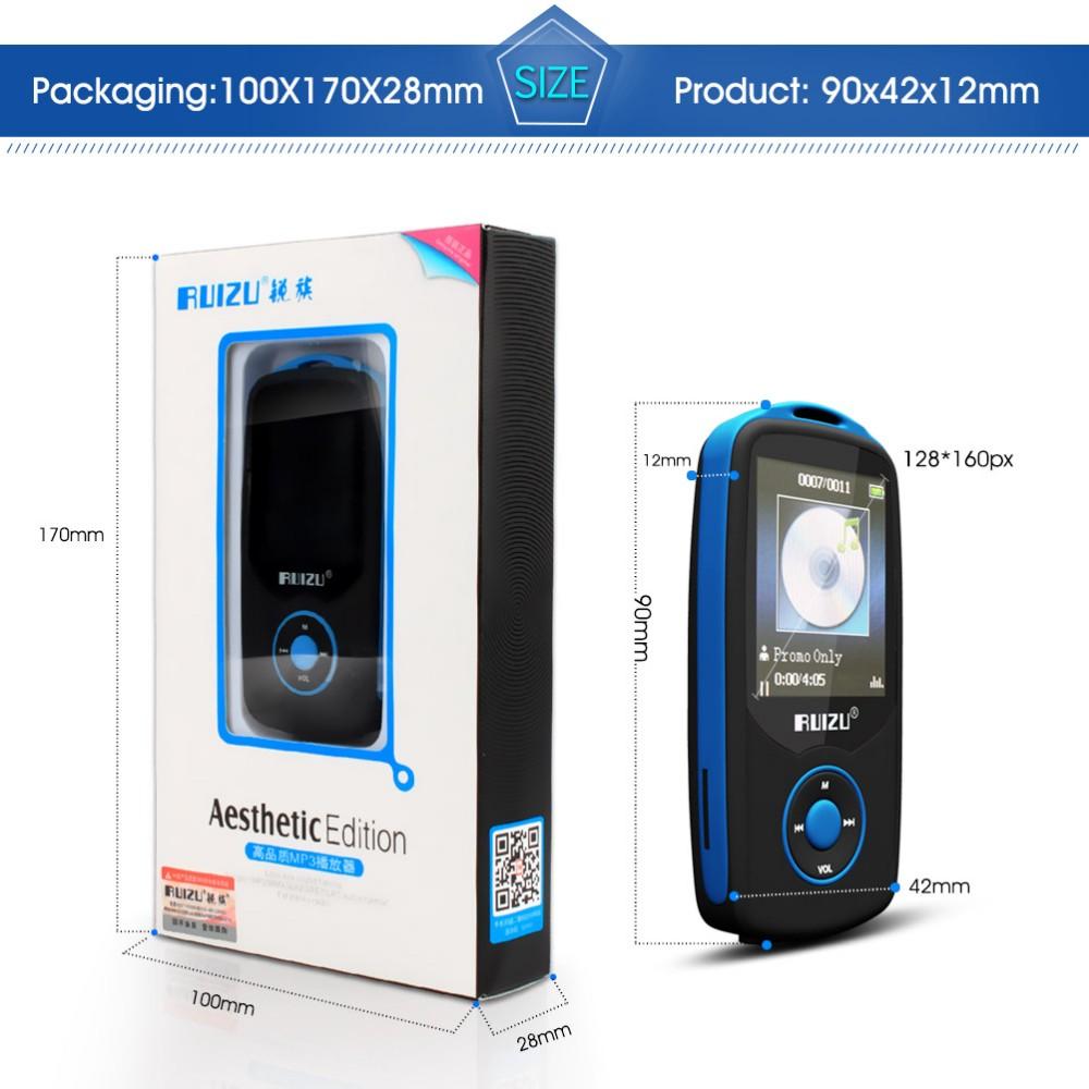 Купить Новый RUIZU X06 mp3 Спорта Bluetooth Mp3-плеер 16 Г 1.8 Экран 100 H высокое качество без потерь Музыка Рекордер FM mp3 hifi игрока