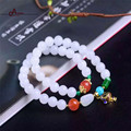 2016 Nova Marca Clássico Estilo Chinês Natureza Jade Pulseiras de Contas e Real Ágata & silver bead 4 Rodadas para mulheres gift & saúde